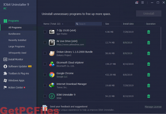 IObit Uninstaller Pro 9.2.0.20 Crack + Serial Key